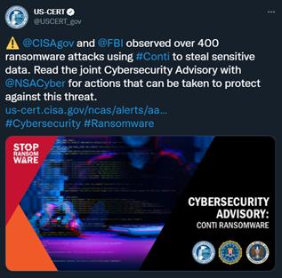 Conti CISA Tweet
