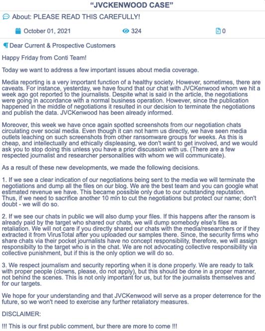 Conti Ransomware Public Statement